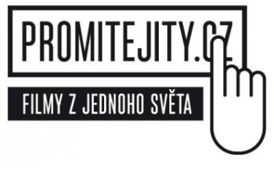 V horní části je nápis velkými černými písmeny Promitejity.cz, je v černém rámečku, podklad je bílý. Vpravo je obrázek ruky s prstem ukazujícím na cz v nápisu. Uprostřed je v černém obdelníku bílým písmem nápis Filmy z Jednoho světa. / In the top part there is an inscription in large black letters that reads GetYourAudience.cz. It is in a black frame; the background is white. On the right is a picture of a hand with a finger pointing to the letters cz in the inscription. In the middle, in a black rectangle, in white lettering, the words Films from One World.