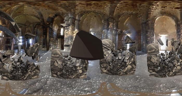 Grafika počítačové hry. Nepravidelný útvar hnědé barvy levituje uprostřed. Vpozadí jsou nazlátlé klenby, ve kterých se odráží světlo. Vpásmu mezi útvarem a klenbami jsou čtyři roztříštěné objekty připomínající zrcadla, jsou zpola rozpadlé. Pod nimi je rozmázlá stříbřitá barva připomínající pivní pěnu./Computer game graphics. An irregular brown formation levitates in the middle. In the background are golden vaults, in which light is reflected. In the zone between the formation and the vaults, there are four shattered objects resembling mirrors, they are half disintegrated. Beneath them is a smudged silvery colour somewhat resembling beer foam.